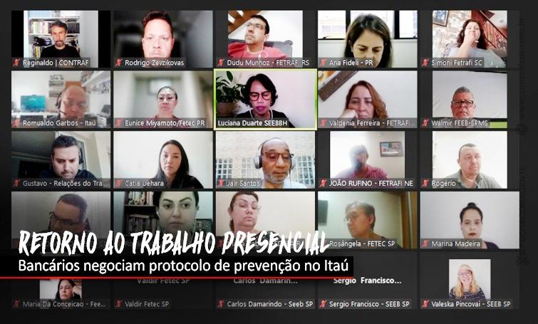 Bancários discutem retorno ao trabalho presencial no Itaú
