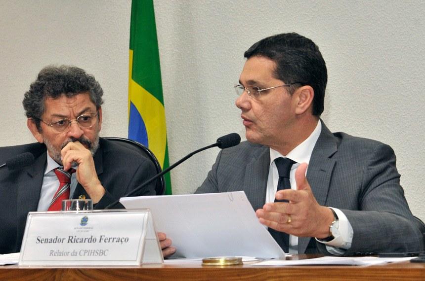 Ricardo Ferraço, relator, e o presidente da CPI, Paulo Rocha. Foto: Waldemir Barreto/Agência Senado