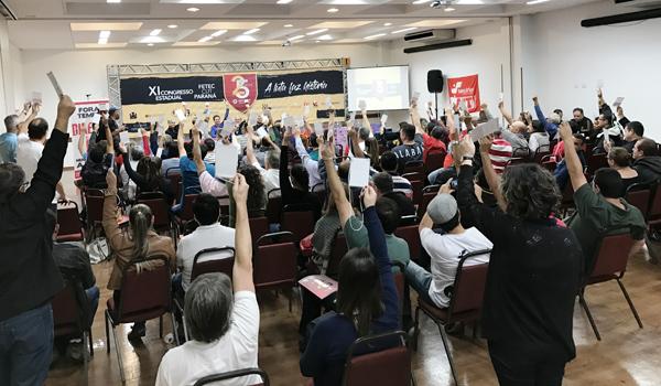 O XI Congresso Estadual da Fetec-CUT/PR reuniu cerca de 110 delegados e delegadas em Curitiba