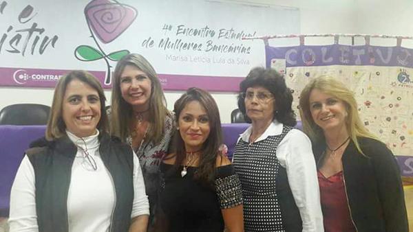 Diretoras do Sindicato de Cornélio Procópio durante o 4º Encontro de Mulheres Bancárias, promovido pela Fetec-CUT/PR