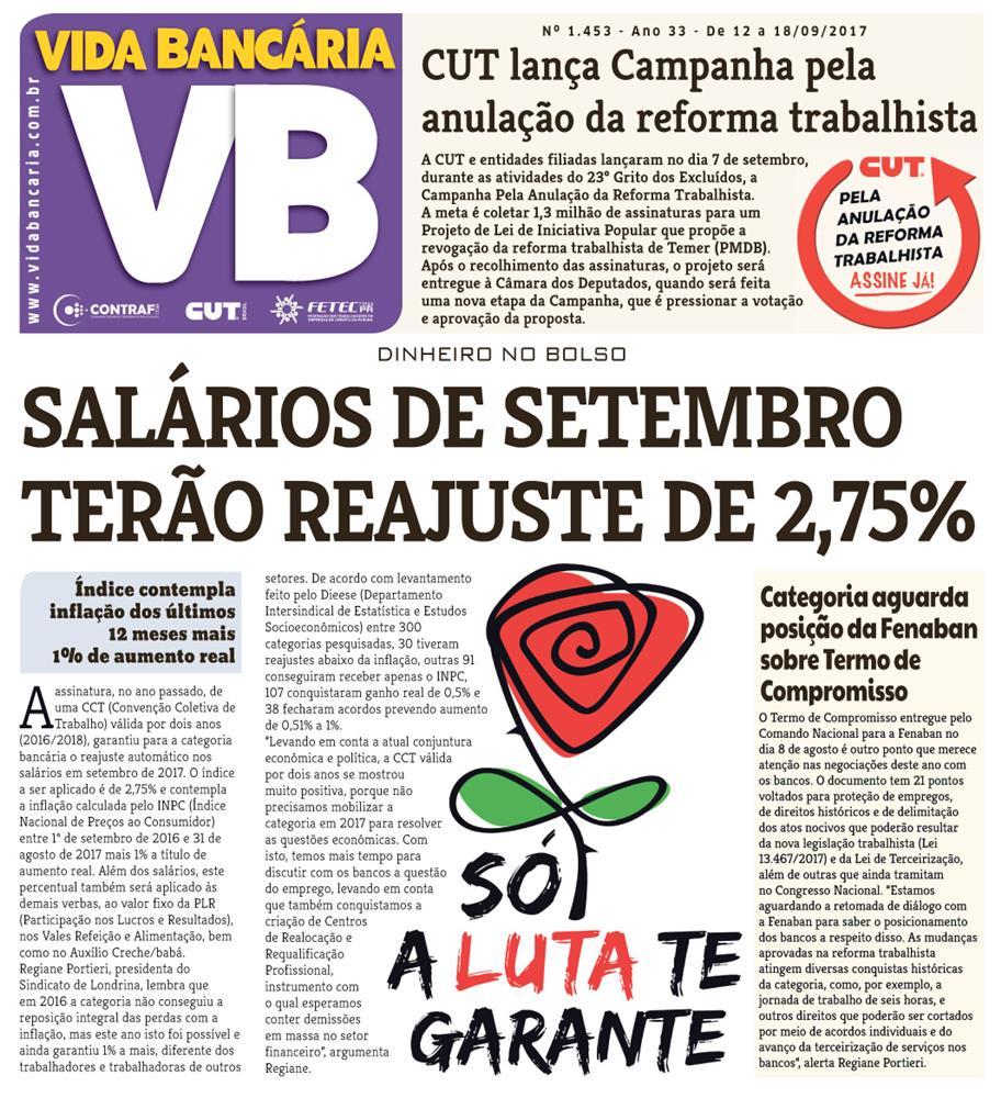 Reajuste nos salários é manchete da edição impressa desta semana