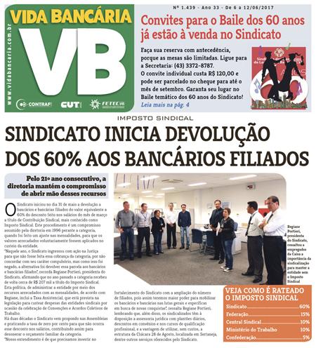 Matéria de Capa divulga a devolução do Imposto Sindical pelo Sindicato de Londrina