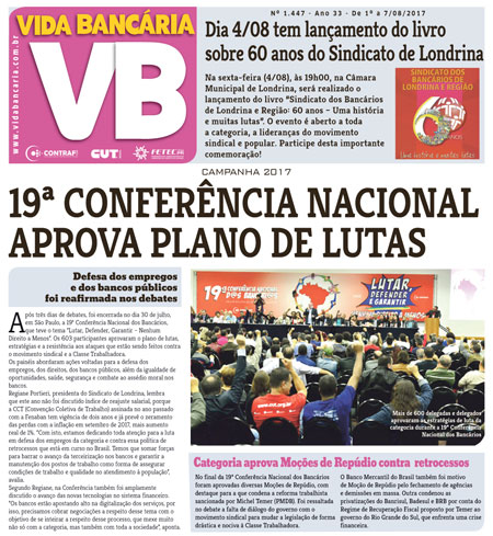 Vida Bancária informa as deliberações da 19ª Conferência Nacional