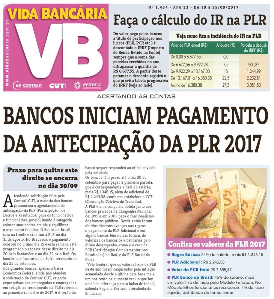 Bancos iniciam pagamento da PLR de 2017