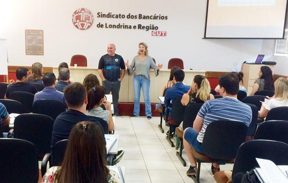 Wanderley Crivellari, diretor do Sindicato de Londrina, na abertura dos novos cursos, com a facilitadora Solange Honorato