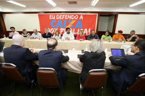 Membros da CEE voltaram a defender a manutenção da Caixa 100% pública no início da rodada de negociação - Foto: Jaílton Garcia/ Contraf-CUT