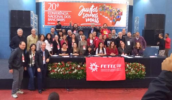 A delegação do Paraná presente na 20ª Conferência Nacional dos Bancários - Foto: Jailton Garcia/Contraf-CUT