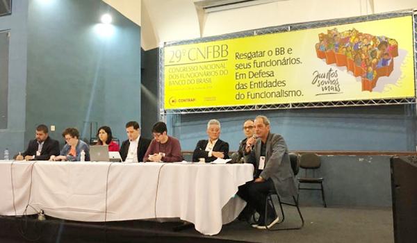 Dirigentes de entidade representativas do funcionalismo do BB participaram da mesa no último dia do 29º CNFBB