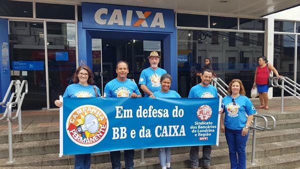 A atividade do Sindicato de Londrina na agência Ouro Verde destacou os 157 anos e a importância da Caixa para o País