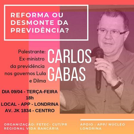A palestra de Carlos Gabas será aberta a todas as pessoas interessadas em debater o tema