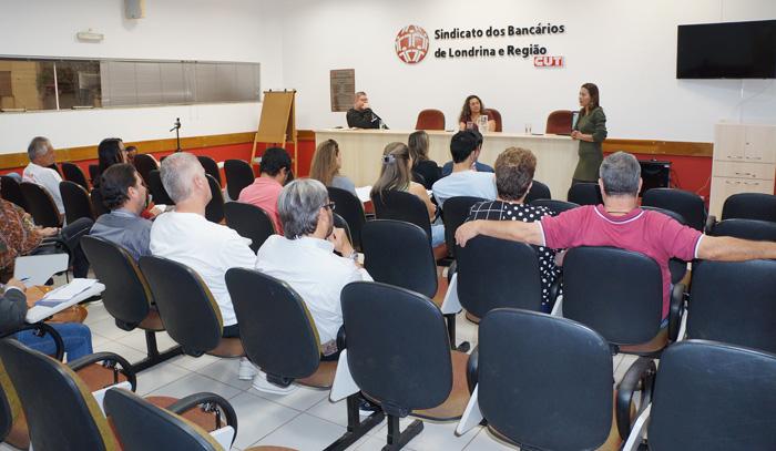 A palestra foi assistida por dirigentes dos Sindicatos de Apucarana e de Londrina, além de trabalhadores de outras categorias