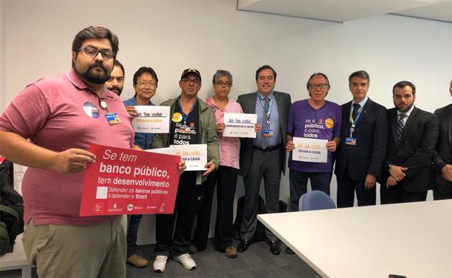 Representantes dos bancários em protesto contra a resolução 23 da CGPAR