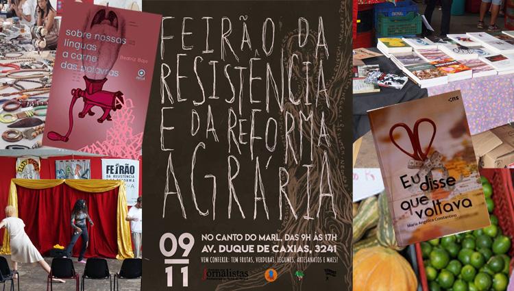 O Feirão da Resistência oferece alimentos saudáveis, atrações culturais, artesanato, livros, CDs e diversos outros produtos
