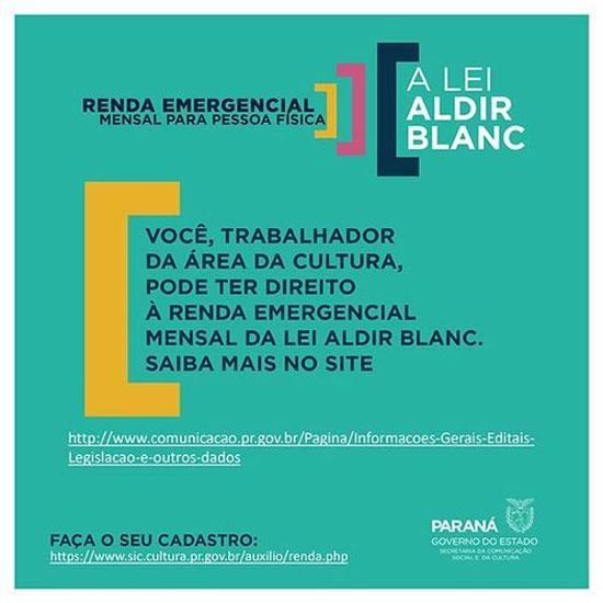 Lei Aldir Blanc garante Auxílio Emergencial para trabalhadores da Cultura