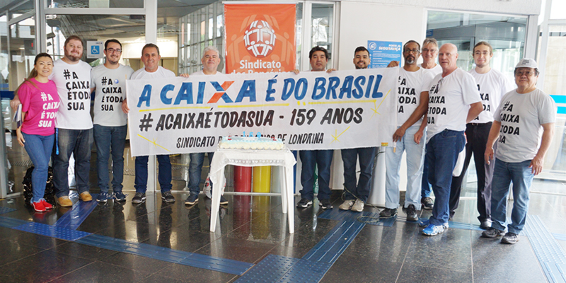 A atividade em defesa da Caixa foi realizada na agência Londrina