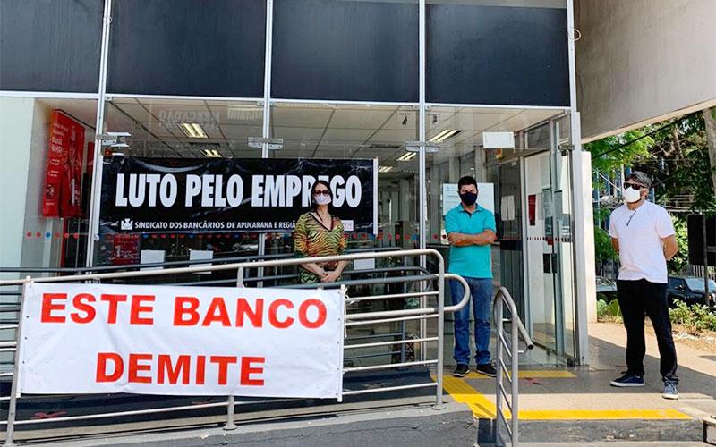 Sindicato de Apucarana participou do Dia Estadual de Luta contra demissões no Bradesco