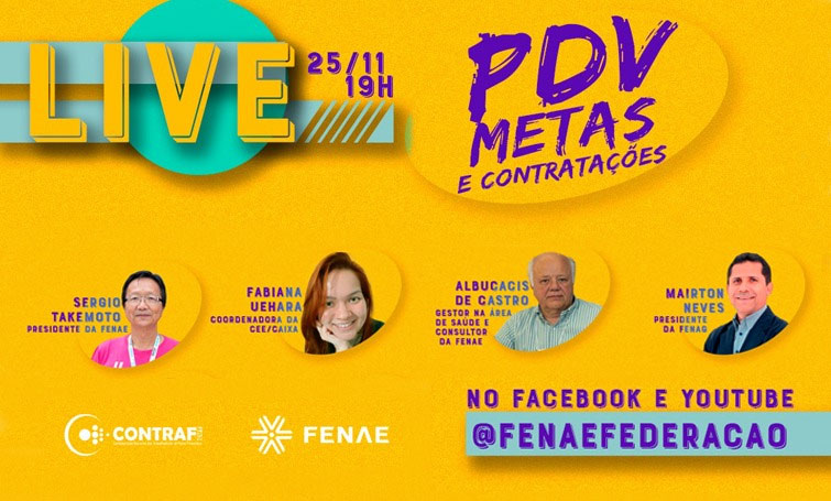 Live da Contraf e Fenae nesta quarta (25) debate PDV e condições de trabalho