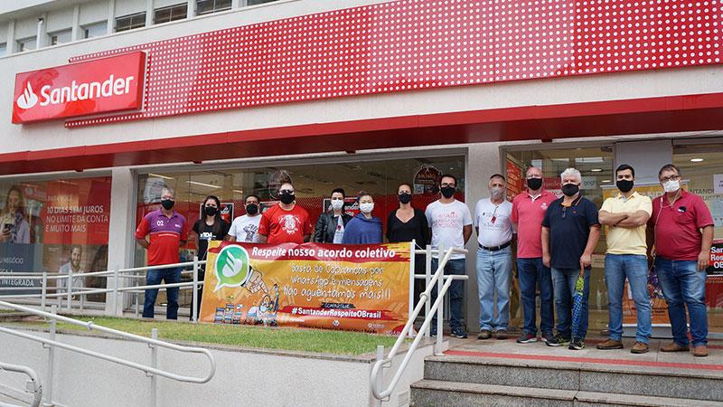 Paralisação da agência Alto Higienópolis, em Londrina, denuncia o desrespeito do Santander com trabalhadores brasileiros