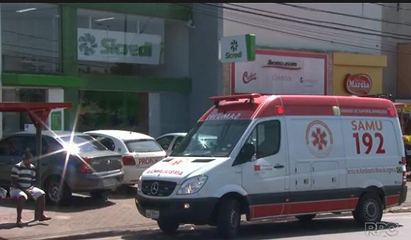 Cinco funcionários do Sicredi foram atendidos pelo Siate por terem sido abalados psicologicamente pelo assalto - Imagem: RPCTV