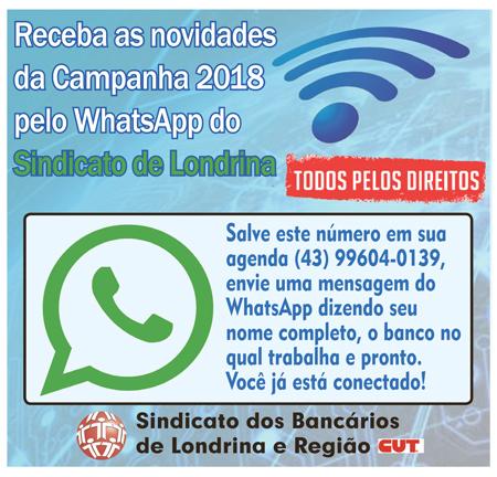 Fique por dentro das informações da Campanha 2018 no WhatsApp do Sindicato