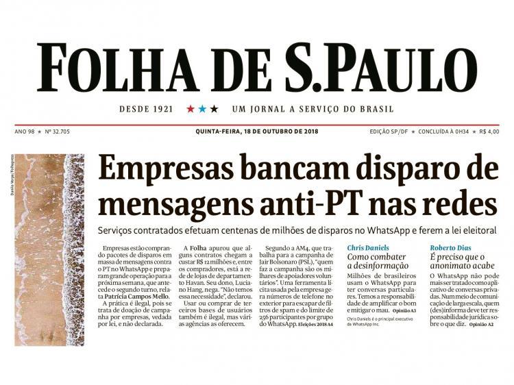 Empresários bancam campanha de Bolsonaro contra o PT pelo WhatsApp, diz jornal